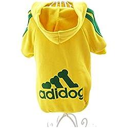 JUYUAN Adidog los Mascotas sueter del perrito de la camiseta caliente con capucha ropa de abrigo Suave para Mascota Perro Gato Ajustable Permeable al Aire(Amarillo M)