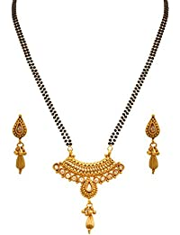 Jfl - Jewellery For Less One Gram Gold Plated Lcd Champagne Diamond Mangalsutra With Black Beaded Chain And Earrings...