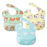 Baby Bib Feeding Bibs Waterproof Drool Bib Coverall 3 PCS Set Adjustable Closure for Babies Toddlers with Large Pocket (6-36 Months) (Cat & Dog & Bear)