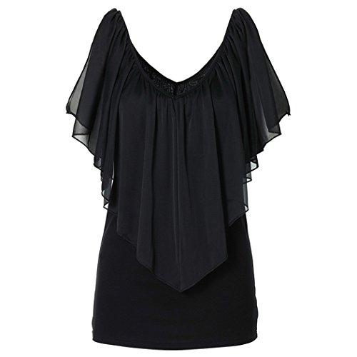 ZEARO Sexy Damen T-Shirt Bluse Hemd Oberteile Rüsche Schulterfrei Shirt Tops Schwarz