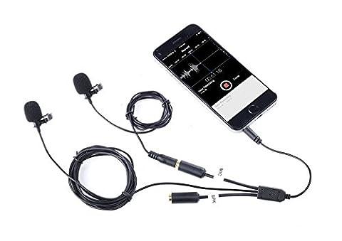 Movo Executive Lavalier Clip-on Interview Mikrofon mit Sekundärmikrofon & Kopfhörer Monitoring Input für Apple iPhone, iPad, Samsung, Android Smartphones/Tablets