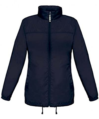 Shirt in Style Basic Lady Windbreaker Rain Jacket Water resistant With Hoodie - Blue, S