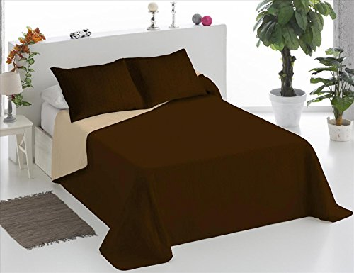 ForenTex - Colcha Boutí, (LQ-CB), Bicolor Chocolate Beige, cama 135 cm, 230 x 260 cm, +2 fundas cojín 40 x 60 cm, 220 gr/m2 (relleno ligero 80gr/m2)