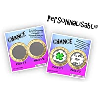 """Carte à gratter personnalisable - Message au choix - Annonce originale grossesse ou événement - Modèle ticket de jeu""""Chance"""" - 6 couleurs"""