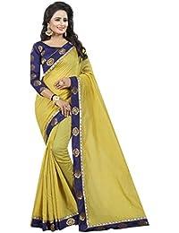 Vastrang Women's Chanderi Cotton Saree With Blouse Piece(1312ROSMHD_Mehandi Green_Free Size)