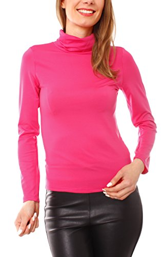 Damen Thermo Rollkragen Rolli Langarm Shirt Pullover Pulli Microfaser Stretch Unterziehrolli Rollkragenshirt Unterzieher Einfarbig Pink M/36