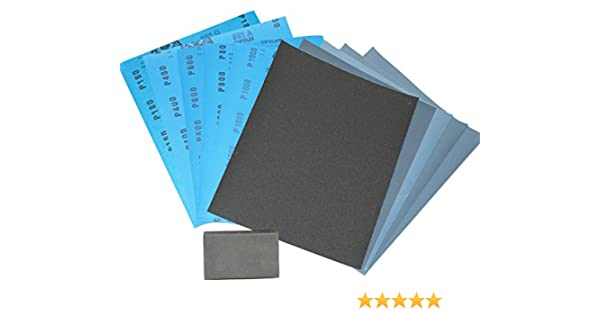 Equal Amounts of each Grit 5 Sheets to 1000 Sheets You Choose Pack Size Highest Quality Silicon Carbide Abrasive Waterproof Paper. Wet and Dry Sandpaper Sanding Kit with Flatting // Sanding Block 180//400//600//800//1000 Mixed Grits