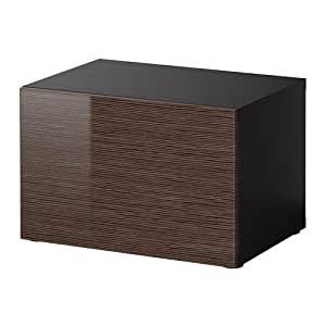 ikea besta regal mit t r schwarz braun bambus muster high gloss brown 60x40x38 cm. Black Bedroom Furniture Sets. Home Design Ideas