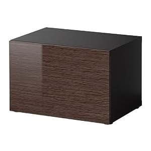 ikea besta regal mit t r schwarz braun bambus muster high gloss brown 60x40x38 cm. Black Bedroom Furniture Sets. Home Design Ideas