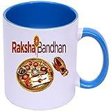 RjKart Ceramic 325 Ml Rakhi Printed Rakshabandhan Special Coffee Milk Mug For Gift | Blue And White