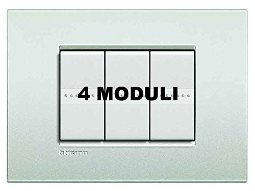 Bticino LNC4804PR Placca Livinglight Air 4 Moduli, Bianco...