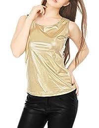 Allegra K Mujer Camiseta Sin Mangas Estilo Metálico Cuello U Neck Ajustado