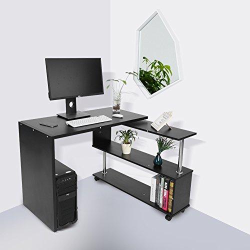 Eck-computer-schreibtisch (Zerone Winkel, L-Büro Computer-Schreibtisch, 360° Drehbar Verstellbar Ecke Computer Schreibtisch Tisch mit Bücherregale groß PC Gaming Schreibtisch Schreibtisch Workstation Home Office Schwarz)