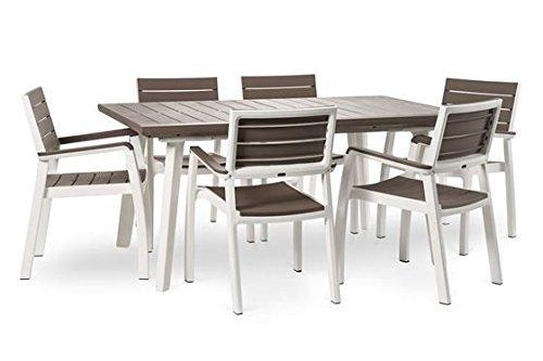 Set da giardino mod harmony con tavolo allungabile in resina