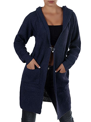 Dive Kapuzen-jacke (N619 Damen Longshirt Grobstrick Cardigan Jacke Strickjacke Kleid Bluse Kapuze, Farben:Dunkelblau;Größen:Einheitsgröße)