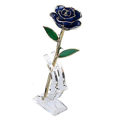 BTSKY 24k Gold Dipped Foil Trim Long Stem Genuine Real Rose With Stand (Blue)