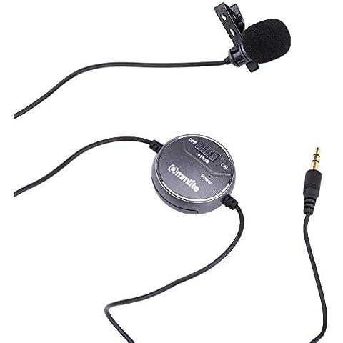 Commlite Comica CVM-V03CP + 10dB Regolazione Lavalier Microfono, Clip-on Omnidirezionale Microfono a Condensatore, con Vento Muff, per la Macchina Fotografica / Videocamera Portatile / Notebook / Smartphone / iPhone / iPad