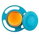 SZTARA, giocattolo divertente da tavolo per bimbo, ciotola giroscopio girevole 360 gradi, a prova di perdite, ciotola disco volante con coperchio, colore verde e arancione, Blue, taglia unica