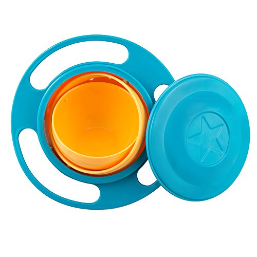 SZTARA Funny Toy Baby Trainning Tableware 360 Dgree Rotation Spill-proof Gyroscope Bowl Flying Disk Bowls With Lid Green And Orange Test