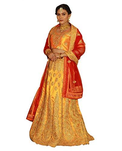 Bridaal Royal Stylish Art Silk Embroidery Work Orange Color Lehenga