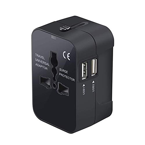 GYLFDC Reiseadapter, Universal Universal Conversion Stecker, USB Conversion Stecker, Geeignet für US EU UK AUS Handy Notebook (110V ~ 250V),Black