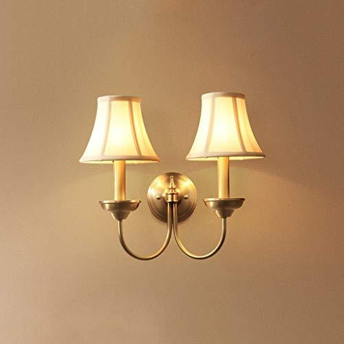 Nfudishpu Wandleuchte, LED Vollkupfer American Single Head/Double Head Lampe/Schlafzimmer/Wohnzimmer/Hotel/Balkon/Außenleuchte (Größe: B)