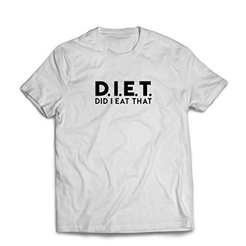 lepni.me Männer T-Shirt Diät - Habe ich das gegessen? Lustige Übung, Gymnastik, Workout-Spruch (Medium Weiß Mehrfarben)