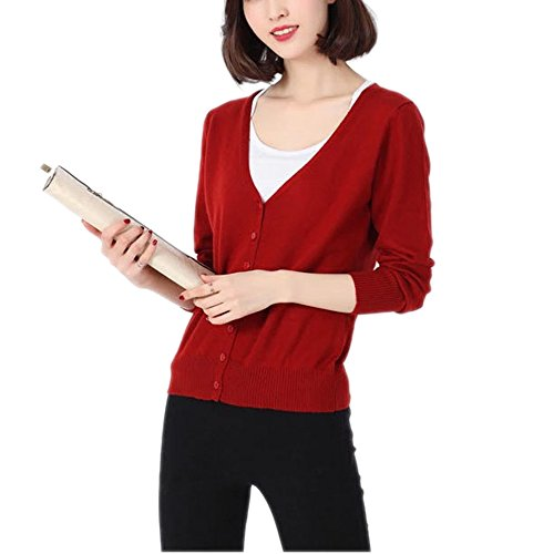 HIDOUYAL New Ladies Long Sleeve Knit Jacket Cardigan Top (Dunkel Rot, S) (Top Cashmere Knit)