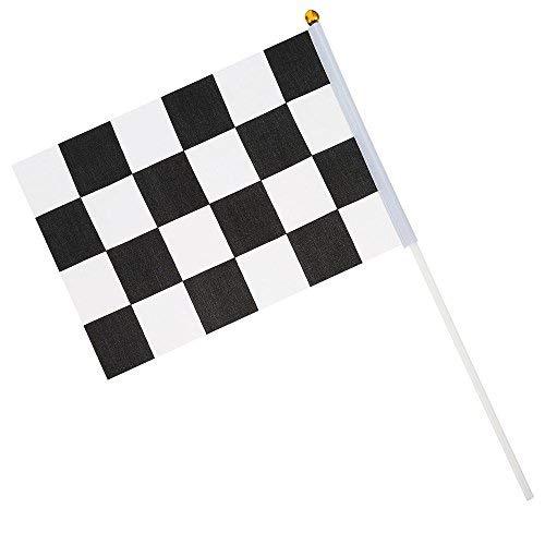 (Zielflagge Rennflagge, 12 Stück Schwarz und Weiß Checkered Hand Markierungsfahnen Racing Polyester Flags mit Kunststoff Stick für Motorradrennen, Bars, Clubs, Partys, Geburtstage (14 * 21CM))