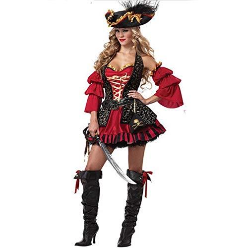 Olydmsky karnevalskostüme Damen Halloween Kostüm PIRATENKOSTÜM Rollenspiel Königin Outfit Uniform Party Kostüm