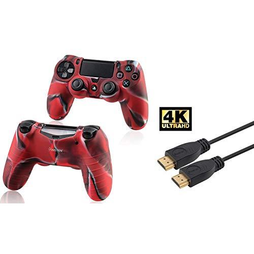 Insten 2 Packs Camouflage Navy Red Silikon Skin mit FREE Ein 15FT High Speed ??HDMI-Kabel mit Ethernet M / M kompatibel mit Sony PlayStation 4 (PS4) Regler