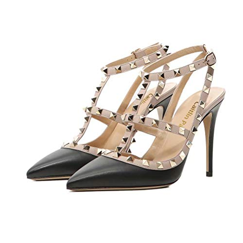 3e0afac641df61 Caitlin Pan Women Fashion High Heel Pointed Toe Ankle Straps Studs Stiletto  Formal Party Dress Sandals