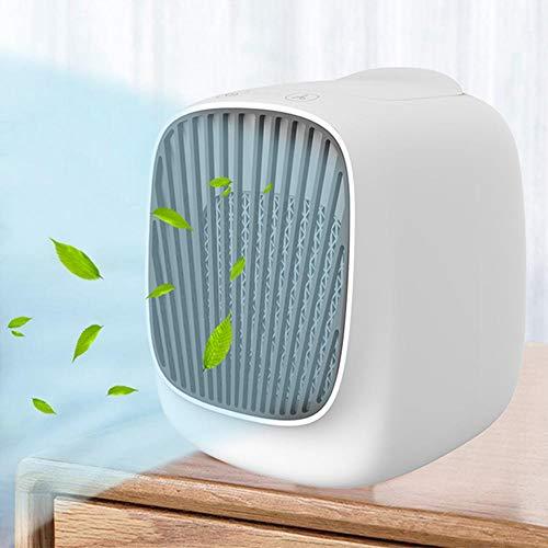 Womdee Climatiseur Air Portable Cooler, Mini Climatiseur Mobile Silencieux,USB Ventilateur Climatiseur Mobile 4 en 1 Climatiseur Refroidisseur Humidificateur Purificateur d'air Personnel,3 Vitesses