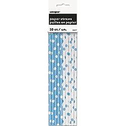 Unique Party - Pajitas de Papel a Lunares - Azul Claro - Paquete de 10 (62077)