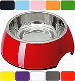 DDOXX Fressnapf in vielen Farben & Größen für kleine & große Hunde Katzen | Futternapf Katze klein | Hundenapf Hund groß | Katzennapf Edelstahl | Melamin-Napf | Rot, 350 ml