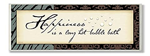 The Stupell Home Decor Collection Happiness is a Long Hot Bath Bathroom Wall Plaque