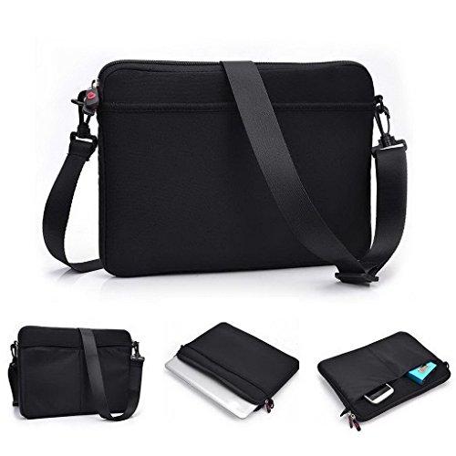 Kroo uneversal Messenger/Sleeve Tasche mit Zubehör Tasche und Schulterriemen passt für Fujitsu LifeBook U772 schwarz schwarz