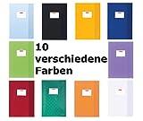 10 Herlitz Heftumschläge / Hefthüllen DIN A4 / Baststruktur / 10 verschiedene Farben