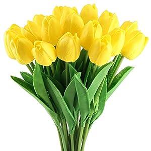 HUAESIN 20Pcs FloresArtificiales Amarillos TulipanesArtificial Falsas Flores de Plastico Ramo Flores Artificiales Colgantes para Exterior e Interior Navidad Boda Hogar Fiesta Toque Real