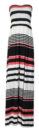 Fast fashion aztèque et élastique pour femme joli imprimé rayé sheering maxi robe Multicolore - Mehrfarbig - Black/Cream