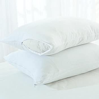 Linenwalas Pillow Protectors Waterproof and Dustproof Set of 2, White