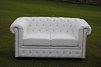 Brand New White Bycast Leather Chesterfield Diamante 2 Seater Settee sofa! from Potteries Antique Centre