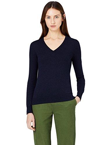 MERAKI Jersey de Algodón Mujer Cuello Pico, Azul (Navy), 36 (Talla del Fabricante: X-Small)