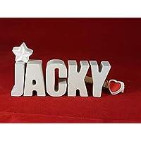 Beton, Steinguss Buchstaben 3D Deko Namen JACKY mit Stern und Herzklammer als Geschenk verpackt! Ein ausgefallenes Geschenk zur Geburt, Taufe, Geburtstag oder auch zu anderen Anlässen.