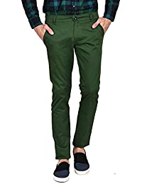 Ruace Men's E-green Slim Fit Cotton Trouser