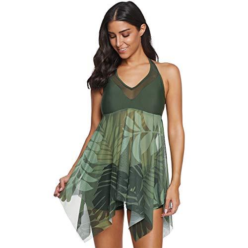 IHEHUA Frauen Tankini Große Konservative V-Ausschnitt Mesh Schiere Nähte Rückenfreie Print Halter Unregelmäßigen Rock Bikini Split Zweiteiliger Badeanzug (44, Grün) -