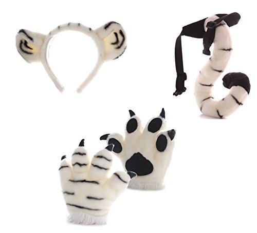 UNLOCKGIFT Künstliche Tiger Kostüme Set, Künstliche Tiger Pfoten Handschuhe, Tails, Stirnbänder, 4 Stück Weiß