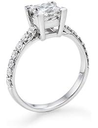 Zertifikat Klassischer 18 Karat (750) Weißgold Damen - Diamant Ring Princess 1.30 Karat D-SI2 (Ringgröße 48-63)