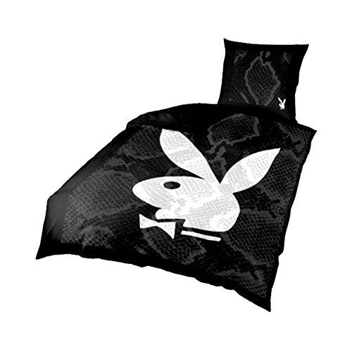 Playboy Bettwäsche mit Playboy Bunny in Schwarz Weiß - Microfaser Bettbezug 135 cm x 200 cm und Kopfkissenbezug 80 cm x 80 cm aus 100% Polyester