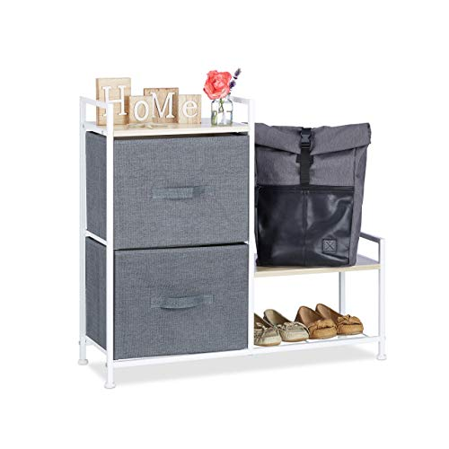 Relaxdays Regalsystem, 2 Stoff-Schubladen, HxBxT: 76 x 84 x 29 cm, universale Schubladenbox, Metall und Holz, grau -